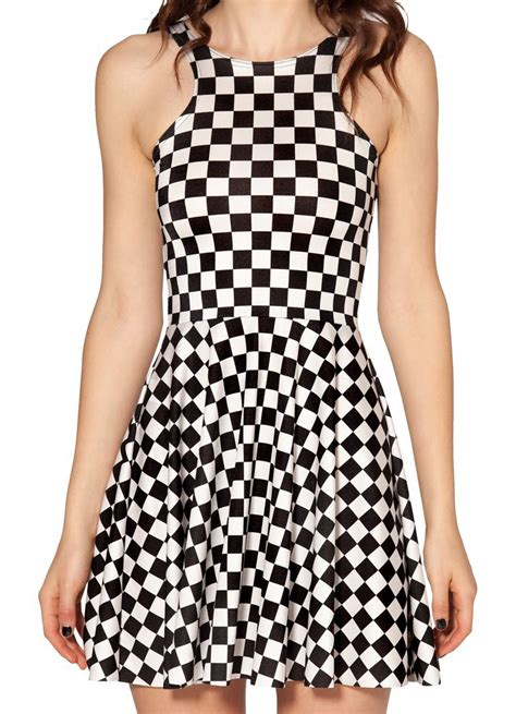 black white plaid reversible skater dress