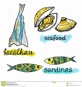 Portugal Traditional Fish And Seafood Icons Stock Vector ...