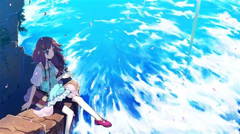 Anime Water Wallpaper - anime resting on a cliff wallpaper water