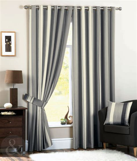 Striped Draperies by Faux Silk Striped Curtains Lined Eyelet Black Grey