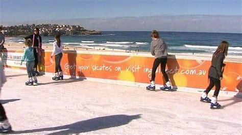 ice skating on sydney s bondi beach bbc news
