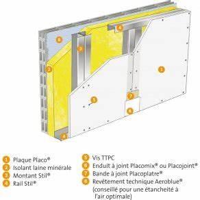Doubler Un Mur En Placo Sur Rail : doublage placostil avec parement placo activ 39 air ba 13 et laine paisseur 120 placo ~ Dode.kayakingforconservation.com Idées de Décoration
