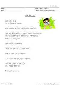 reading comprehension alfie  dog