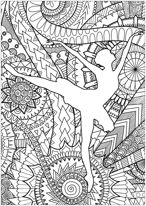 disegni da colorare difficili di persone ballet dancer anti stress coloring pages