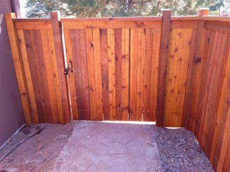 custom cedar fence stained  sikkens natural modern