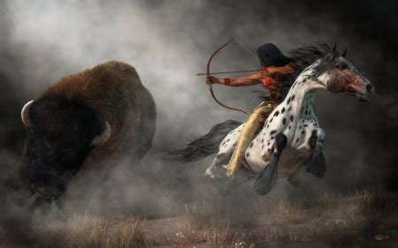 buffalo hunt fantasy abstract background wallpapers