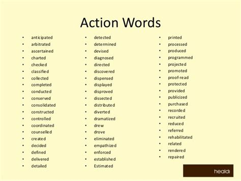 Gallery Of Strong Action Verb List