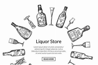 Alcohol Hand Bottles Drink Vector Drawn Glasses