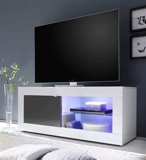 tv stand cabinet with led lights high gloss floating wall meuble tv design blanc et gris laqu