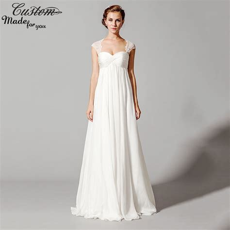 empire wedding dresses bridal gowns for women white chiffon 3901