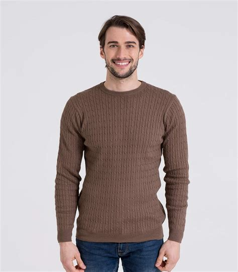 cable sweater mens mocha 10 90 cotton 39 s cable crew neck