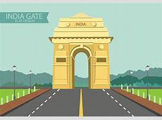 India Gate on Flat Design Download Free Vector Art