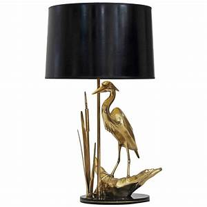 brass heron bird table lamp for sale at 1stdibs With heron brass floor lamp