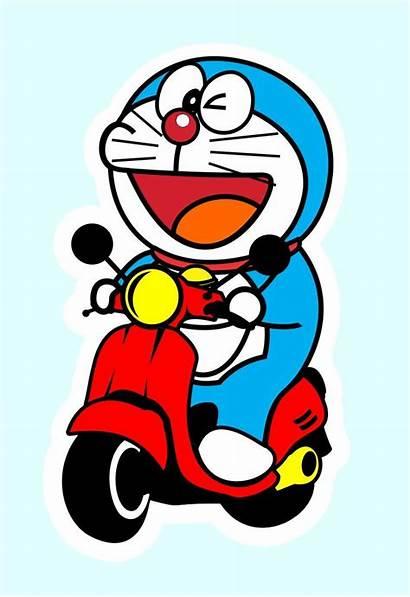Doraemon Vespa Cartoon Vektor Gambar Kartun Syakir