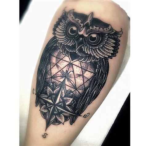 compass owl tattoo images  pinterest owl