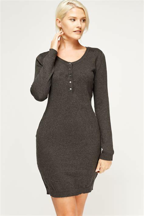 Button Neck Long Jumper Dress - Just u00a35