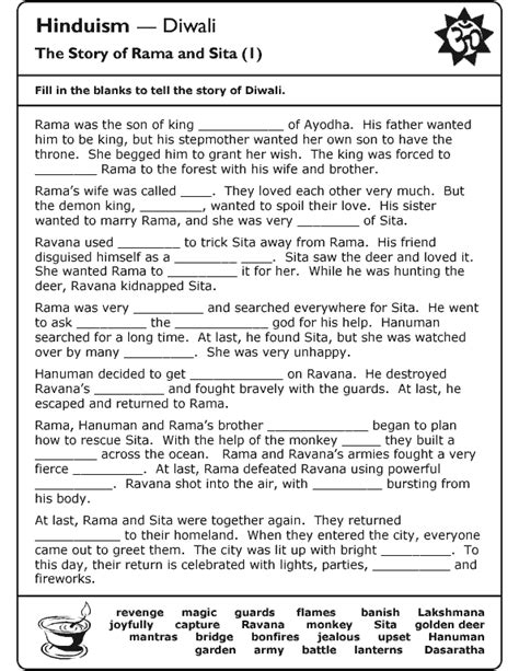 hinduism worksheets for middle school schools religion worksheet