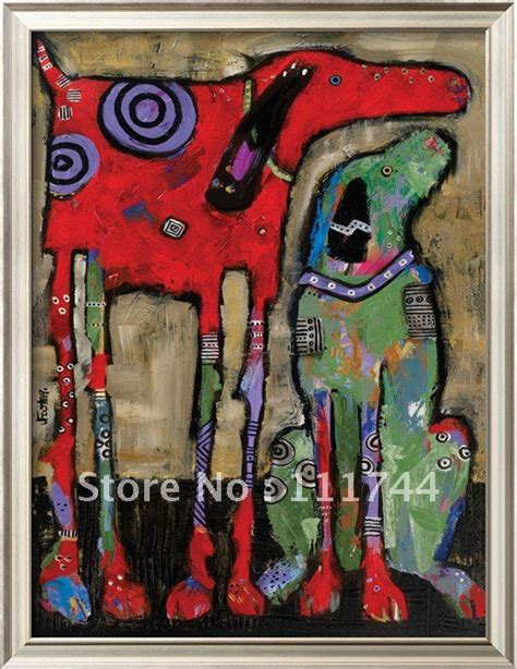 oil painting dog modern abstract art wait  stay