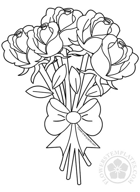 flower bouquet  roses coloring page flowers templates