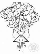 Bouquet Roses Flower Coloring Flowers Pages Rose Drawing Adult Printable Drawings Simple Sheets Templates Adults Butterfly Valentine Outline Valentines Mothers sketch template