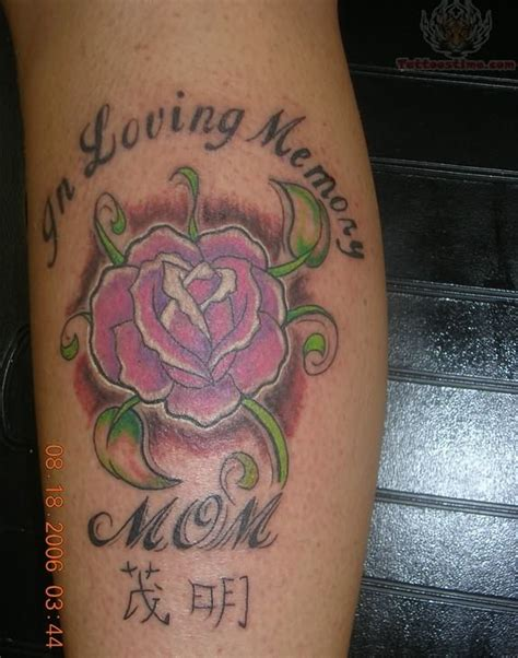 loving memory  mom pink rose tattoo design picture