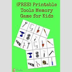 Printable Tools Memory Game For Kids  Memory Games, Memories And Kid