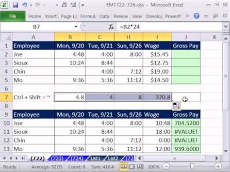 excel formula  calculate hours worked  overtime