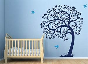 Tree wall decal birds and large sticker blue