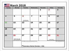 Calendar March 2018, USA Michel Zbinden en