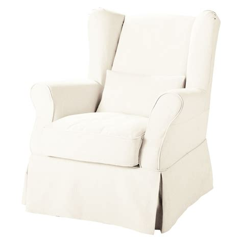 Large Armchair Covers by Fabric Armchair To Cover In White Cottage Maisons Du Monde