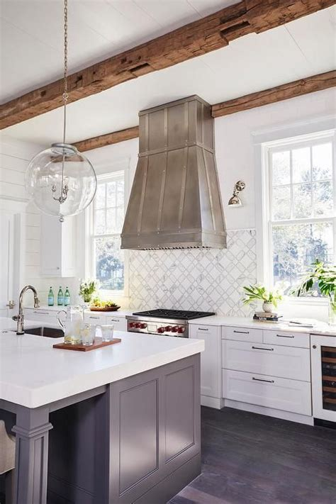 Kitchen Island Vent Ideas by Beautiful Kitchen With Custom Vent Backsplash And