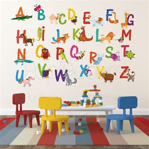nursery abc alphabet wall stickers children playroom wall