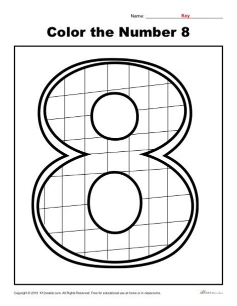 color the number 8 preschool number worksheet 414 | color the number 8