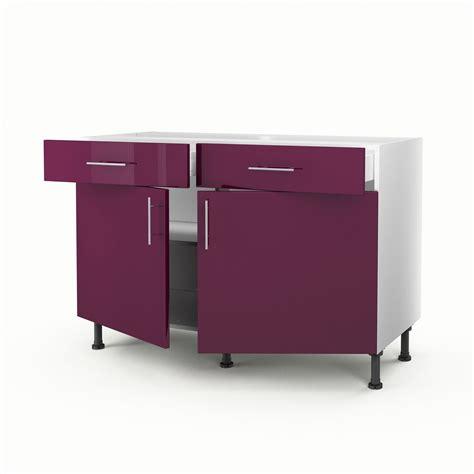 meuble de cuisine 120 cm meuble de cuisine bas violet 2 portes 2 tiroirs
