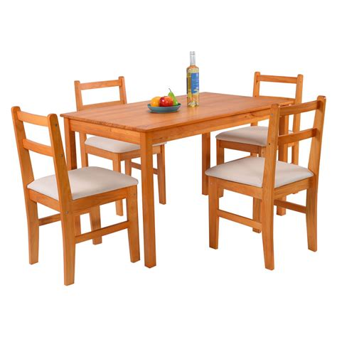 pcs pine wood dining set table   upholstered chair