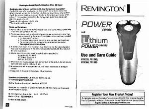 Remington Pr1335 Electric Shaver Use And Care Manual Pdf