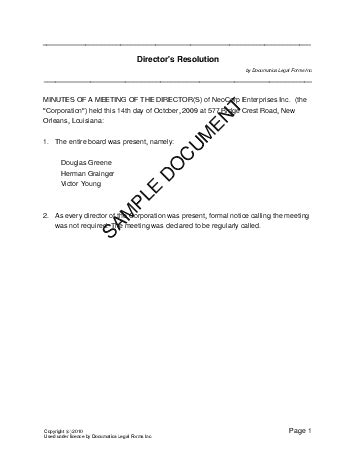 directors resolution australia legal templates