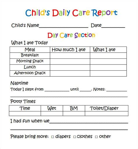 card template preschool daily report template ps learning assessment reports