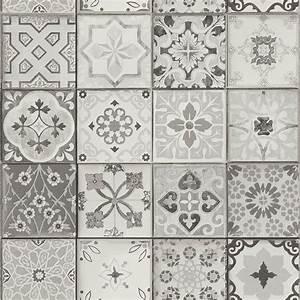 papier peint carreaux vinyle sur intisse imitation With carreau de ciment gris