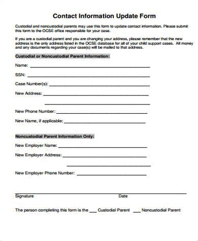 sample contact information forms  ms word