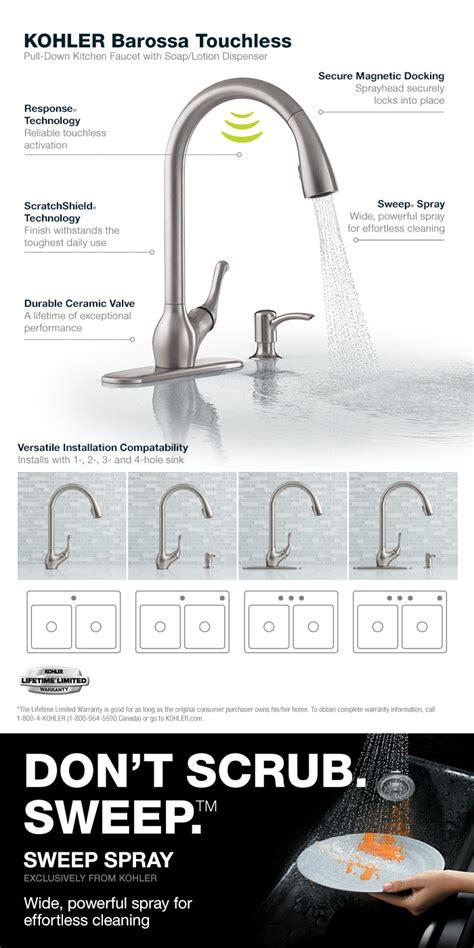 kohler touchless faucet barossa kohler barossa with response touchless technology single