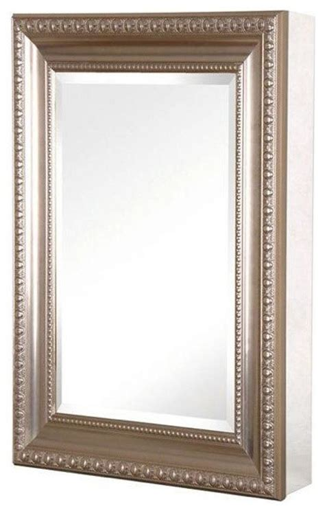 brushed nickel medicine cabinet with lights 15in x 26in recessed or surface mount medicine cabinet