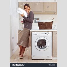Pretty Smiling Girl Laundry Room L Stock Photo 139734148