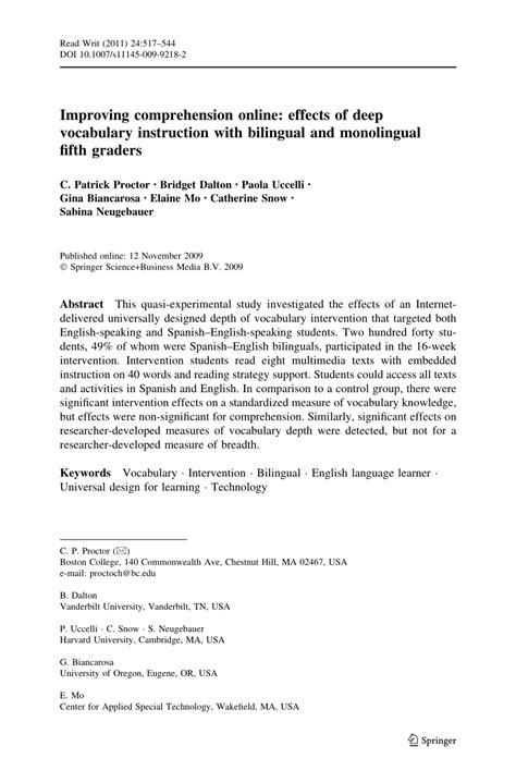 Improving Comprehension Online Effects Of Deep Vocabulary Instruction With Bilingual And