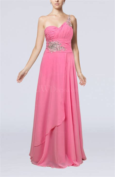 pink informal zipper chiffon floor length rhinestone