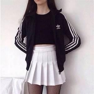 Skirt: tumblr, tumblr outfit, grunge, adidas, skater skirt ...