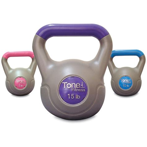 kettlebell fitness tone weight beginners lbs cement filled exercise walmart gym equipment weights amazon kettlebells strength training workout vinyl pound