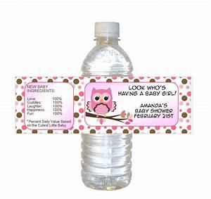 personalized pink owl baby shower waterproof water bottle With custom water bottle labels baby shower