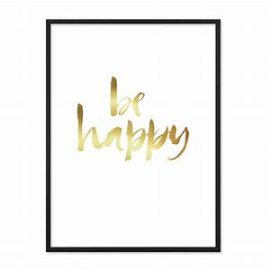 Bild Mit Spruch : design poster mit bilderrahmen schwarz 39 happy gold 39 30x40 cm goldaufdruck motiv spruch ~ Markanthonyermac.com Haus und Dekorationen