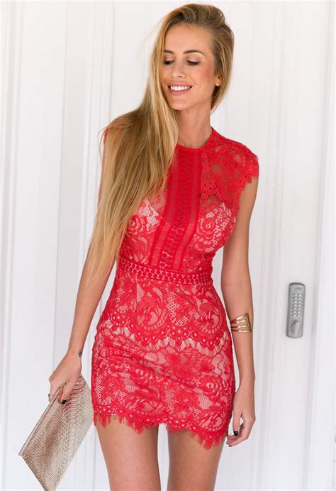 Red Nude Underlay Lace Mini Dress By Xenia Boutique Ustrendy